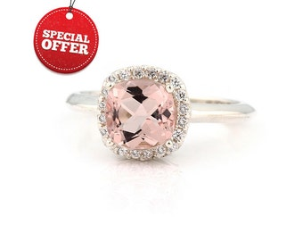 Natural  7mm  Antique Square  Cushion Pink  Morganite  Solid 14K White Gold Diamond engagement  Halo Ring - With  European Shank --Gem882