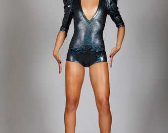 Signature Romper in Black Hologram, Holographic Spandex Bodysuit, Dance Stage Wear, Futuristic Fashion, Music Video Outfit, by LENA QUIST