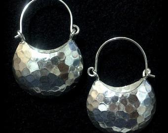 Lunar Earrings, ECLIPSE Earrings, Half Moon Earrings, Dangle Earrings, Hammered Earrings, Sterling Silver Jewelry, Birthday Gift for Her