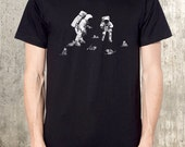 Men's T-shirt  - Astronauts and Space Kittens - Men's Graphic Tee - American Apparel - Men's Small Through XXL Available