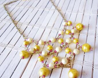 Yellow Beaded Bib Necklace, Summer Sunset, Goldenrod & Magenta, Upcycled vintage Beads, Retro style, Statement necklace, Pastel Grunge