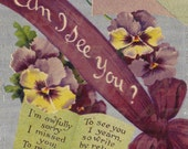 Romantic Poem Purple Pansies Say When I Can See You 300 DPI Digital Hand Designed Art Scrapbooking, Card Making  + Craft PRINTABLE DOWNLOAD
