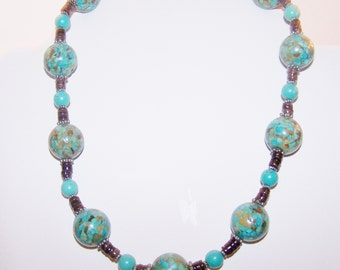 Chunky turquoise necklace set with coconut shell beads