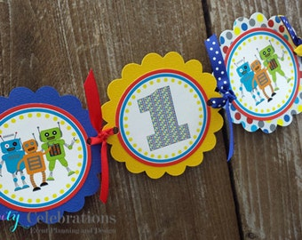 High Chair Banner -Robot -Photo Prop -High Chair Bunting -1st Birthday -Small Banner -Boy -Red Blue Yellow