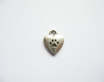 10 Heart Paw Charms in Silver Tone - C1625