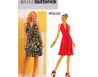 Pullover dress a line cut in armholes halter by Muse Butterick OOP 5352 Size 6 8 10 12 Bust 30 1/2. 31 1/2 32 1/2 34 UNCUT sewing pattern