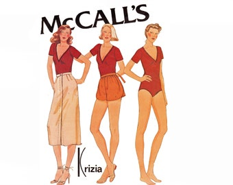 Krizia 1970s Bodysuit Skirt and Wrap shorts Vintage Sewing Pattern Bust 34 Size 12 Dancers outfit  McCalls 6629