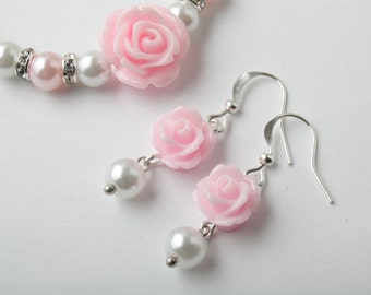 Flower girl earrings - Pink rose - Pink and white earrings - girl delicate earrings - Pink wedding Jewelry - Junior bridesmaids - Canada