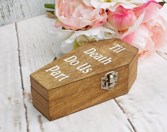 Til Death Do Us Part Ring Box Rustic Wood Ring Box Coffin Ring Box