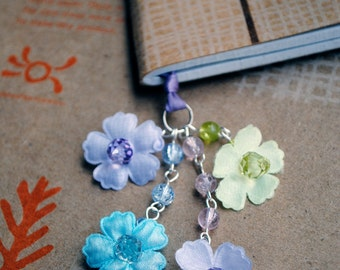 Flower Book Thong Beaded Ribbon Bookmark Spring Flowers Purple Blue Green Mothers Day and Easter
