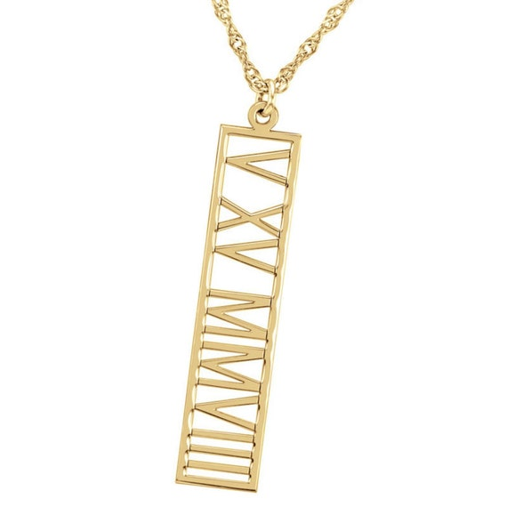 Roman Numeral Gold Bar Necklace Personalized Roman Numeral
