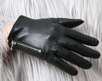 Genuine Leather Lambskin Sheepskin Punk Rocker Biker Dancer Fingers Zip Glove Lined