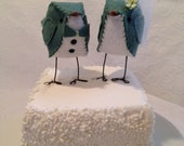 Blue Spruce Love Birds Wedding Cake Topper - READY TO SHIP!
