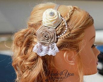 53 DIFFERENT COLORS- Rose Flower Girl Headband-Bridesmaid Headband-Wedding Head Piece
