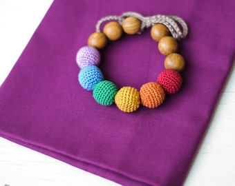 Earthy Rainbow Teething Bracelet - oak wood