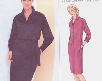 DKNY Womens Shirtdress Vogue Sewing Pattern 2680 Size 6 8 10 Bust 30 1/2 to 32 1/2 Uncut Donna Karan New York American Designer