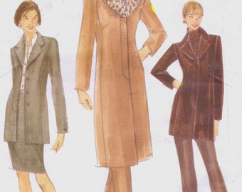 90s Womens Jacket in 2 Lengths, Pencil Skirt and Tapered Pants Vogue Sewing Pattern 9907 Size 8 10 12 Bust 31 1/2 to 34 UnCut