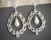 Swarovski Crystal Bridal Earrings, Pearl Drop Chandelier Wedding Earrings, Art Deco Lace Shaped Teardrop Stud Earrings Jewelry, URSINA