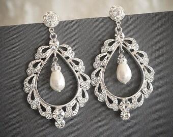 50% OFF SALE, Swarovski Crystal Bridal Earrings, Pearl Drop Wedding Chandelier Earrings, Lace Shaped Teardrop Stud Earrings Jewelry, URSINA