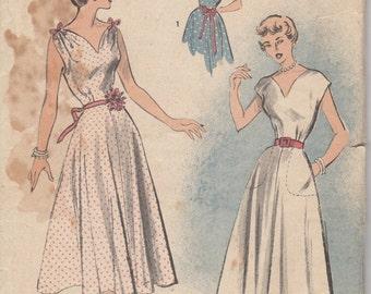 1940's-50's Misses' Dress Advance 5489 Size 14 Bust 32