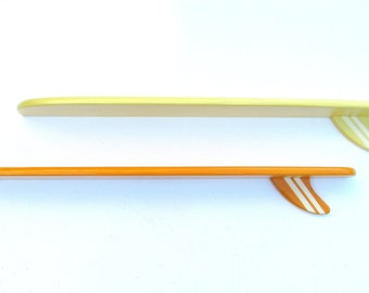 One Multi-Color Surfboard Shelf with Vanilla Hand Painted Stripes