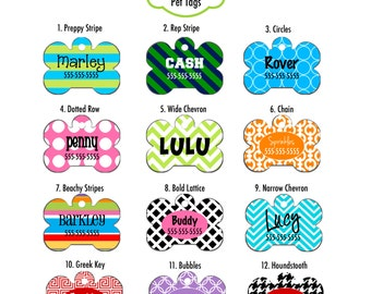 Personalized Dog Pet ID Tag - Choose your design