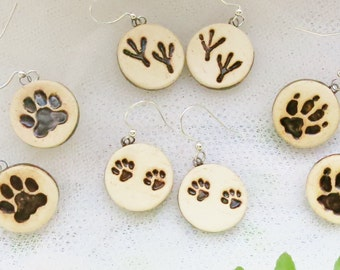 Ceramic Animal Print Earrings / Paw Prints / Cat Jewelry / Dog Lover Gift / Pottery Jewelry / Economical / Handmade / Artisan Gifts Under 20