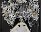 """PRE-ORDER  2016 Delivery-""""""""Mr. Frost'icles in Black Tie"""" Snowman-Christmas Wreath-Petals & Plumes ORIGINAL Design©(See Production time)"""