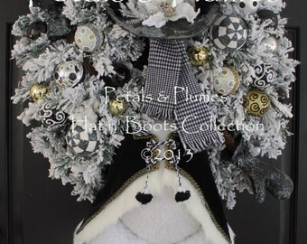"PRE-ORDER  2018 Delivery-""""Mr. Frost'icles in Black Tie"" Snowman-New Years Eve Wreath-Christmas Wreath-Petals & Plumes ORIGINAL Design©"
