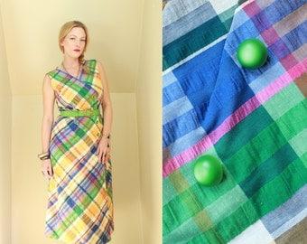 60s - Green, Yellow, Blue - Seersucker Plaid - Madras - Button Up - Sleeveless - Day Dress - Matching Belt - R & K