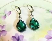 Emerald Green Earrings Green Crystal Duo Earrings May Birthstone Gift Idea Fall Winter Wedding Bridesmaids Earrings Prom Christmas Jewelry