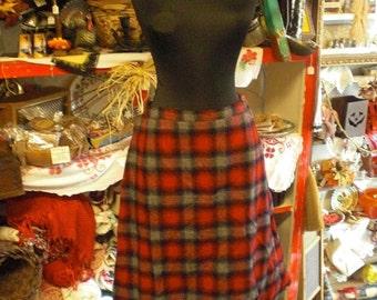 Plaid Red Gray Wool Skirt 1960s
