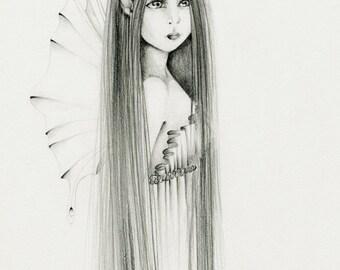 Fairy Art Pencil Drawing Giclee Print of my Original Fairy Hand Drawn Pencil Drawing Faery Fantasy Artwork Wall Art for Girls Room
