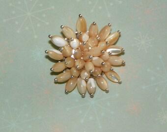 Mother of Pearl Pin/Brooch  shell pin/brooch light tan pin/brooch mothers day gift handmade pin/brooch MOP pin/brooch gift present