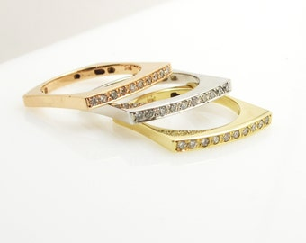 Diamond stack rings. 3 colors .