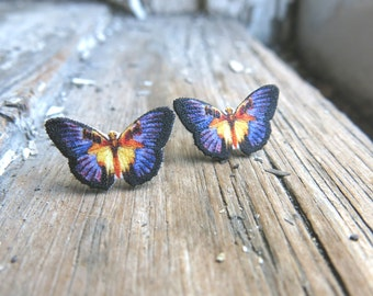 Post Earrings Purple and Yellow Butterfly Women's Fashion Spring and Summer Trend Insect Jewellery For Her Gift for Friend Image Jewelry