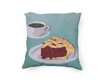 Coffee and pie Decorative Throw Pillow, printed pillow, Cherry pie illustration, hand drawn, Diner art decor, Velveteen Pillow Cover Only