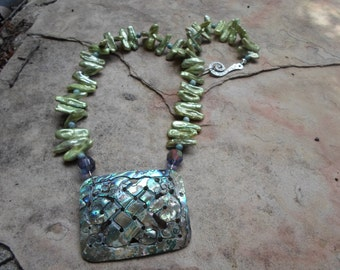 Abalone Shell and Pistachio Fresh Water Stick Pearls Handmade Necklace