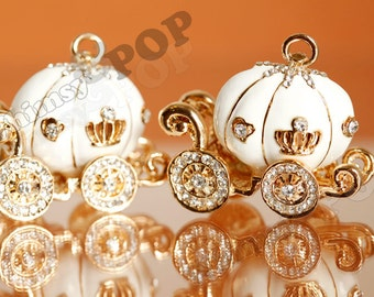1 - Large White Enamel and Rhinestone Pumpkin Coach Fairy Tale Charm, 35mm x 49mm (R8-221)