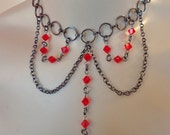 Bella Crystal Necklace and Earring Set in Scarlet Red