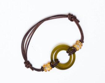 BOHO Wine Bottle Bracelet, Recycled Glass Jewelry, Custom, Guy Gift, Free Shipping, Dessin Creations