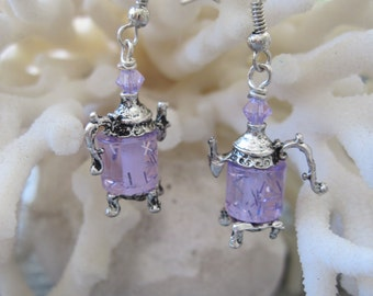 Silver Strand Embedded Lavender Beads Silver Tea Pot Earrings