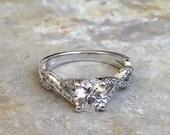 Infinity Round Shape Diamond Engagement Ring 14k White Gold or Yellow Gold Art Deco Diamond Ring