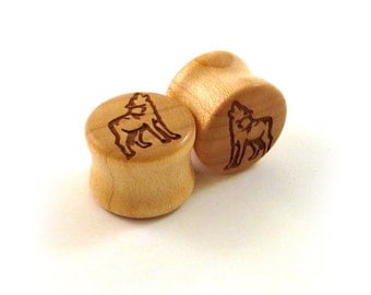 """Howling Wolf Maple Wooden Plugs - PAIR - 7/16"""" (11mm) through 1 3/4"""" (44mm) including 1/2"""" 9/16"""" 5/8"""" 11/16"""" 3/4"""" 13/16"""" 7/8"""" Ear Gauges"""
