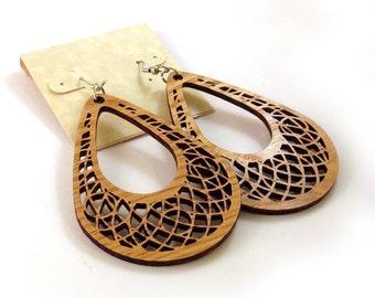 Teardrop Dreamcatcher Hook Earrings in Oak - Large - Sustainably Harvested Wooden Dangle Earrings