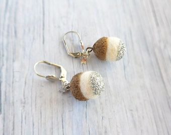 Woodland White earrings with a tiny acorn with silver glitter and tiny star.