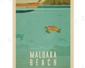 Maluaka Beach, Maui - 12x18 Retro Hawaii Print