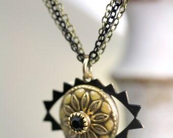 Michal Golan Angular Evil Eye Necklace Black and Yellow