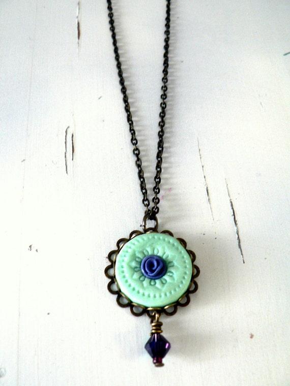 mint statement necklace green pendant flower necklace