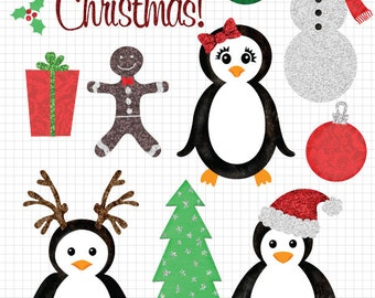 Christmas Clipart, Glitter Clip Art Images, Instant Digital Download, Commercial Use, Christmas Clip Art, Glitter Clipart